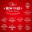 Christmas and New Year Vintage Typography Labels Holidays Sales and Discounts on Red Background — Stock Vector #55362983