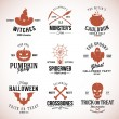 Vintage Typography Halloween Vector Badges or Logos Pumpkin Ghost Scull Bones Bat Spider Web and Witch Hat — Stock Vector #55363149