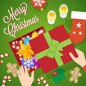 Flat Style Christmas Vector Card or Background — Vetorial Stock