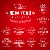 Christmas and New Year Vintage Typography Labels Holidays Sales and Discounts on Red Background — Stock Vector