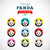 Flat Style Panda Emoticons Vector Set — Stock Vector