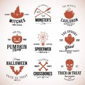 Vintage Typography Halloween Vector Badges or Logos Pumpkin Ghost Scull Bones Bat Spider Web and Witch Hat — Stock Vector