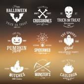 Vintage Typography Halloween Vector Badges or Logos Pumpkin Ghost Scull Bones Bat Spider Web and Witch Hat With Abstract Background — Stock vektor