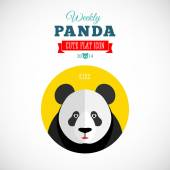 Weekly Panda Cute Flat Animal Icon Kiss — Vector de stock