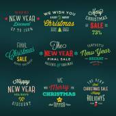 Christmas and New Year Vintage Labels Holiday Sales Discounts Typography — Stock Vector
