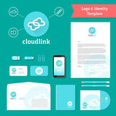 Cloud Link Logo and Identity Template — Stockvektor