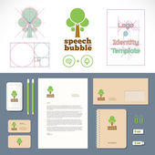 Speech Bubble Tree Logo and Identity Template — Stockvektor