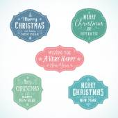 Vintage Typography Soft Color Christmas Vector Badges Set — Stock Vector