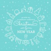 Line Style Christmas and New Year Greeting Banner or Card With Vintage Typography — Stock Vector