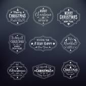 Christmas Vintage Typography Vector Badges Set on Noble Black — Stock Vector