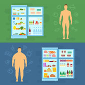 Healthy Lifestyle Flat Vector Card or Infographic Elements With Refrigerator — Vector de stock