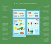Infographic Refrigerator With Food Icons Flat Style Illustration — Vector de stock