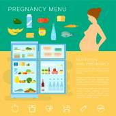 Pregnancy Menu Food Flat Style Vector Infographic Elements or Icons — Vettoriale Stock
