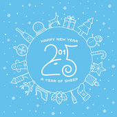 Happy New Year 2015 Creative Greeting Card Design With Sheep Profile — Stock Vector
