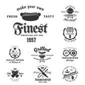 Varmkorv Vintage typografi etiketter och designelement — Stockvektor