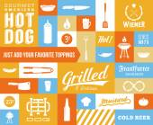 Hot Dog Vector Icon and Typography Set. Vintage, Retro Signs or Labels with Sausages, Knife, Beer, Grill, etc — Stock Vector
