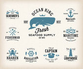 Vintage Nautical Labels or Design Elements With Retro Textures and Typography Anchors Steering Wheel Knots Seagulls Wale — Stock Vector