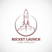 Startup Rocket Space Ship Abstract Vector Logo Template or Label, Badge. Isolated Illustration. — Stock Vector