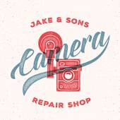 Retro Print Camera Repair Shop Logo or Label — Stock Vector