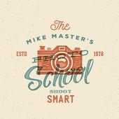 Photography School Retro Vector Label or Logo Template — Stock Vector