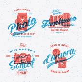 Retro Print Like Photo Camera Labels Set or Logo Templates — Stock Vector