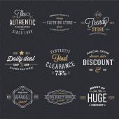 Retro Typography Vector Discount and Sale Labels or Logo Templates with Vintage Background — Stock Vector