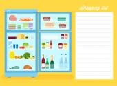 Shopping List with Refrigerator — Stock Vector