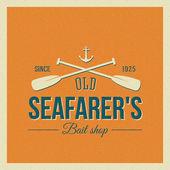 Vintage Nautical Vector Label or Logo with Retro Print Look — Stock Vector