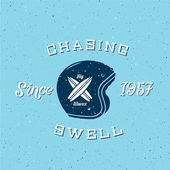 Chasing Swell Abstract Retro Surfers Vector Label or Logo Template — Stock Vector