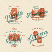 Camera Photography Vector Labels or Logos with Vintage Typography and Retro Print Effect. — Stock Vector
