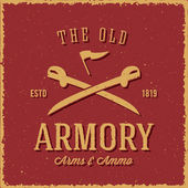 Old Armory Arms and Ammo Abstract Vintage Label, Card, or Logo Template — Stock Vector