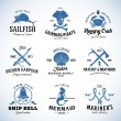 Set of Vector Vintage Nautical and Marine Labels, Signs or Logo Templates Which Can be Divided into Separate Design Elements. Also Great for Posters, Flayers, Restaurant Menu, etc. With Retro — Stock Vector #83830942