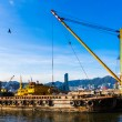 Barge dredging a harbor — Stock Photo #59698525
