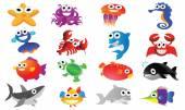 Sea animal cartoon set — Stock Vector