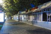 Closed cafes and pizzeria on the prospectus of Kirov (Pyatigorsk — Stock Photo