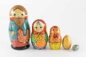Nesting dolls based on the story Hen Ryaba — Stock Photo
