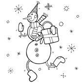 Schattig sneeuwpop met doos van de gift — Stockvector