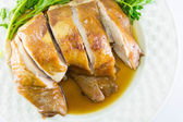 Boiled Chicken with Fish Sauce and spring onion — Stock Photo