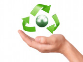 Hand holding green Recycling symbol — Stockfoto