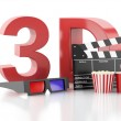 Cinema clapper, popcorn and 3d glasses. 3d illustration — Stock Photo #57947985