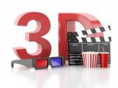Cinema clapper, popcorn and 3d glasses. 3d illustration — Stock Photo