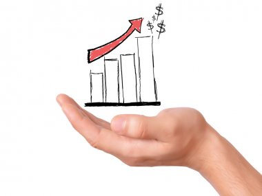 Hand hold drawing business graph. representing business growth