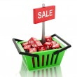 3d Shopping basket with red cubes. sale concept on white backgro — Stock Photo #60493807
