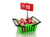 3d Shopping basket with red cubes and 10 percent  on white backg — Stock Photo