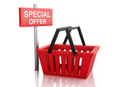3d Shopping basket with special offer sign on white background — Stock Photo