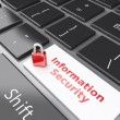 Closed Padlock and Information Security on computer keyboard. Pr — Stock Photo #61088053