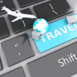 Suitcase, airplane and earth on computer keyboard. Travel concep — Stock Photo #61089131