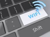 Wifi button on computer keyboard. 3d illustration — Stockfoto