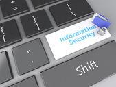 Closed Padlock, folder and Information Security on computer keyb — Stockfoto