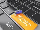 Closed Padlock, folder and Information Security on computer keyb — ストック写真